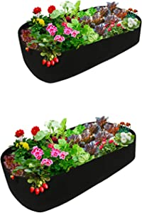ACJRYO 2Pcs Fabric Raised Garden Beds,6X3 ft Rectangle Plant Grow Bags Herb Flower Vegetable Plants Bed Garden Grow Bags for Flowers Vegetables Plants