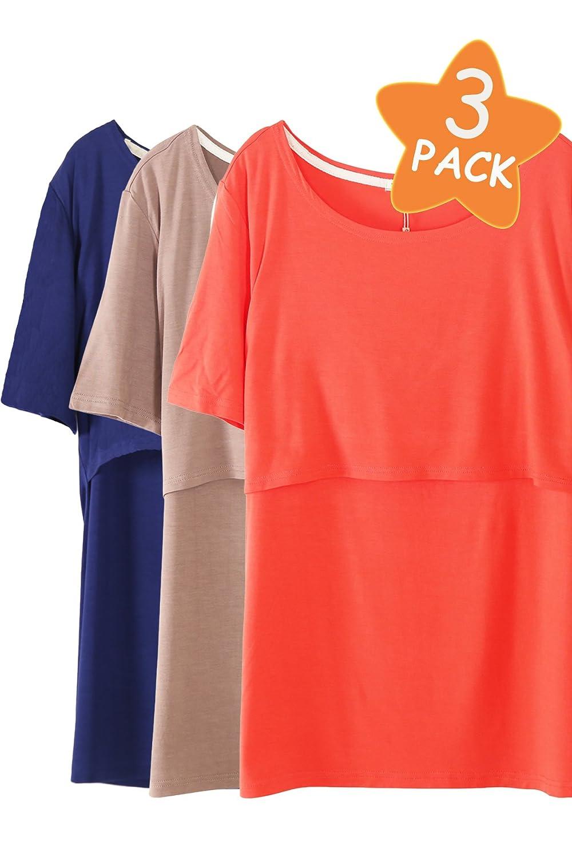 Smallshow 3 Pcs Maternity Nursing T-Shirt Short Sleeve Nursing Tops