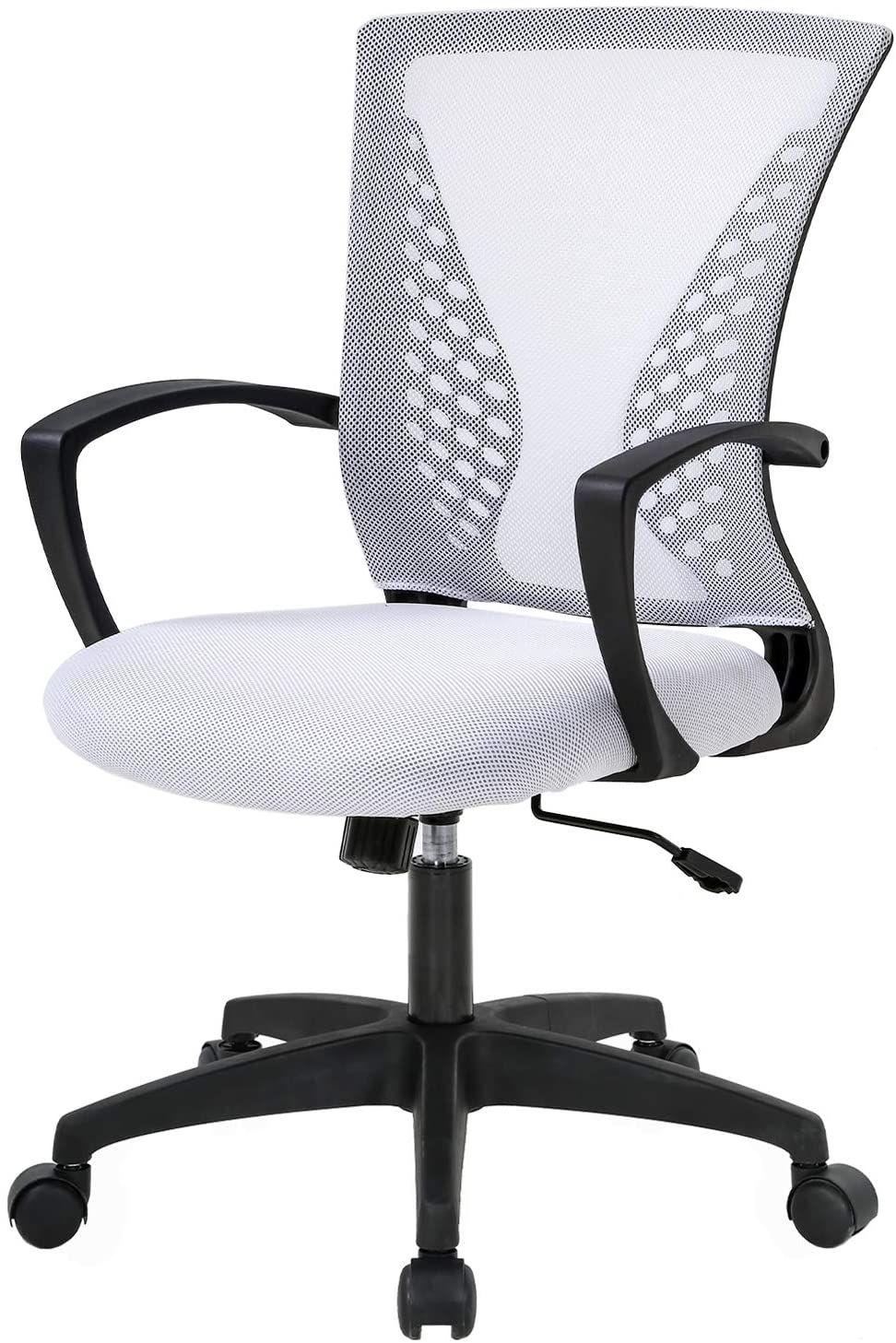 Home Office Chair Mid Back PC Swivel Lumbar Support Adjustable Desk Task Computer Ergonomic Comfortable Mesh Chair with Armrest (White)