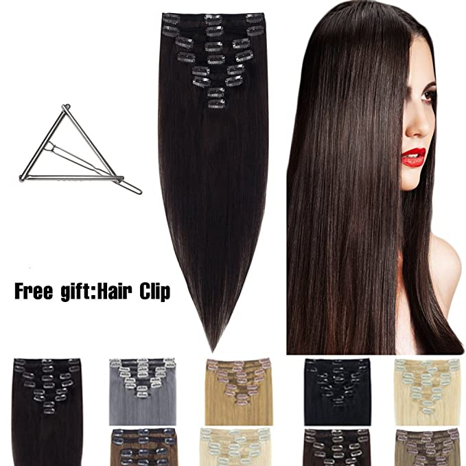 Human Hair Extensions Clip In 16 22 8pcs Full Head Long Soft Silky