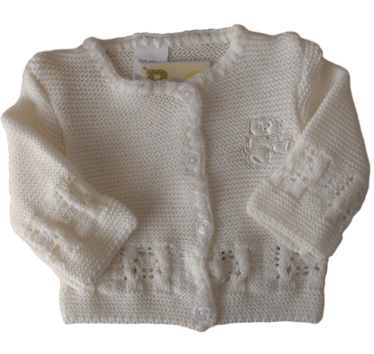 3-6 months - Baby Unisex Boys Girls Gorgeous Ivory Teddy Bear Knitted Cardigan Bee Bo