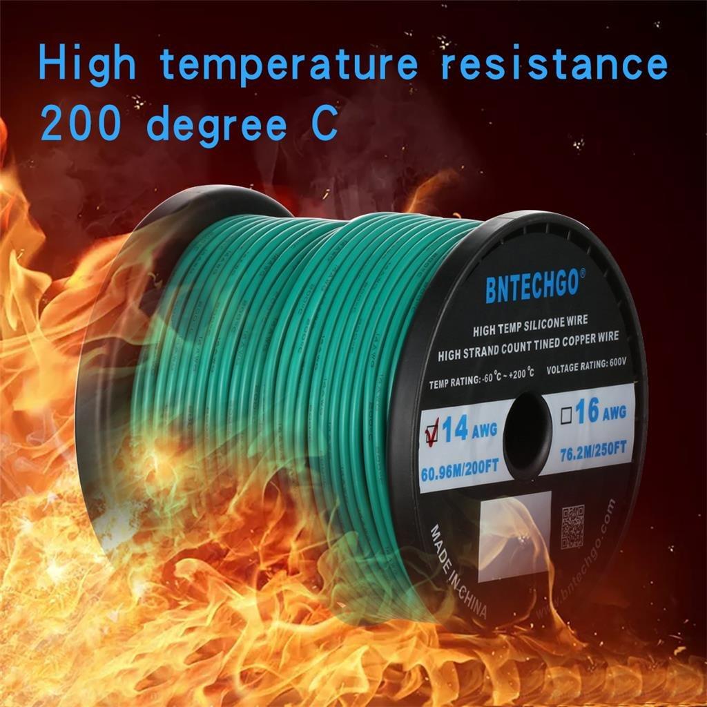 Bntechgo/® Coque en silicone de calibre 14/200/Pieds souple et r/ésistant aux temp/ératures /élev/ées tr/ès efficace 14/AWG Fil de silicone 400/brins de fil de cuivre /étam/é