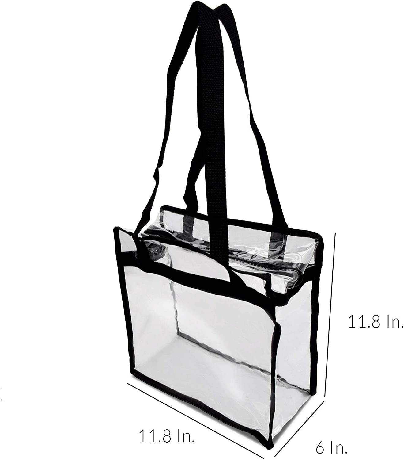 Shoulder and Hand Carry Double Zipper 11.8x6x11.8 Clear Organization PRIME LINE RETAIL Clear Vinyl Zippered Tote Bag with Detachable Shoulder Strap Stadium Events Security Black Pack of 1