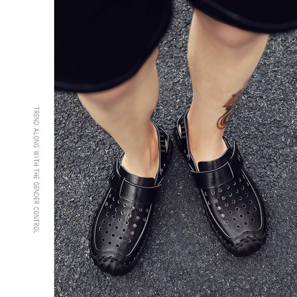 Xiaoqin Männer Leder Sport Sandalen Atmungsaktive Sommer Outdoor Geschlossene Zehe Atmungsaktive Sandalen Walking Beach Sandalen/Fischer Sandalen (Farbe : Braun, Größe : 40 EU) schwarz 4b5672