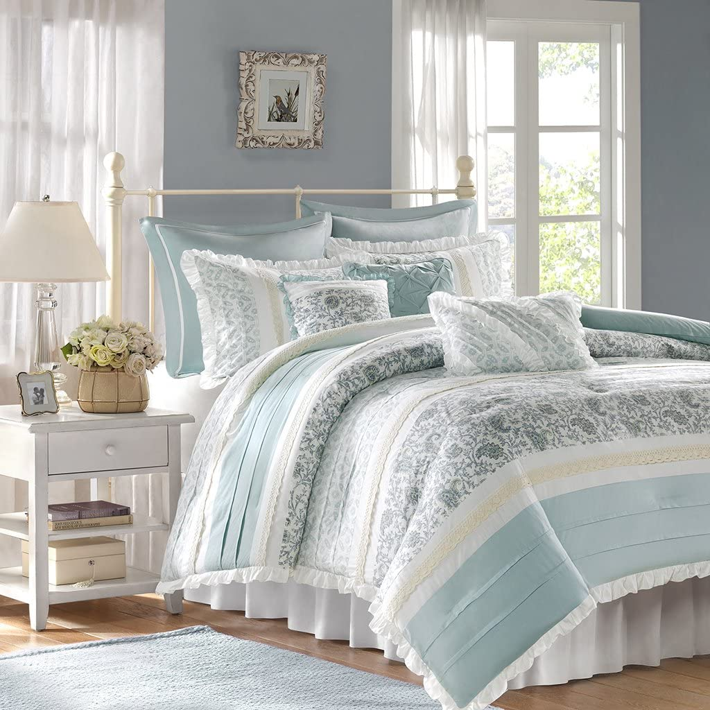 Madison Park Dawn Cal King Size Bed Comforter Set Bed in A Bag - Aqua, Floral Shabby Chic – 9 Pieces Bedding Sets – 100% Cotton Percale Bedroom Comforters