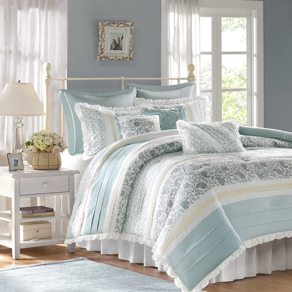 Madison Park - Dawn 9 Piece Cotton Percale Comforter Set - Blue - Queen - Shabby Chic, Ruched & Paisley design - Includes 1 Comforter, 1 Bed Skirt, 2 Standard Shams, 2 Euro Shams, 3 Decorative Pillows by Madison Park