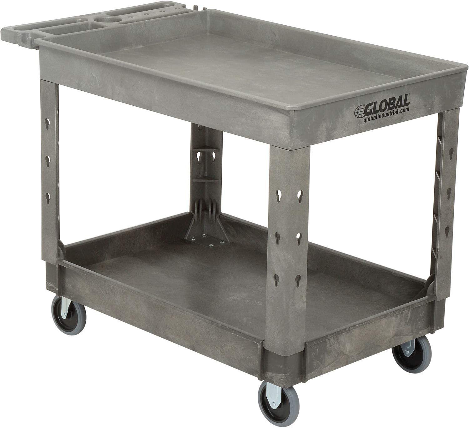 Plastic 2 Tray Shelf Service Utility Cart, 44 x 25-1 2 , 5 Rubber Casters, Lot of 1