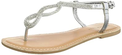 New Look Damen Flattery Lea Embellished Toe T Spangen Sandalen