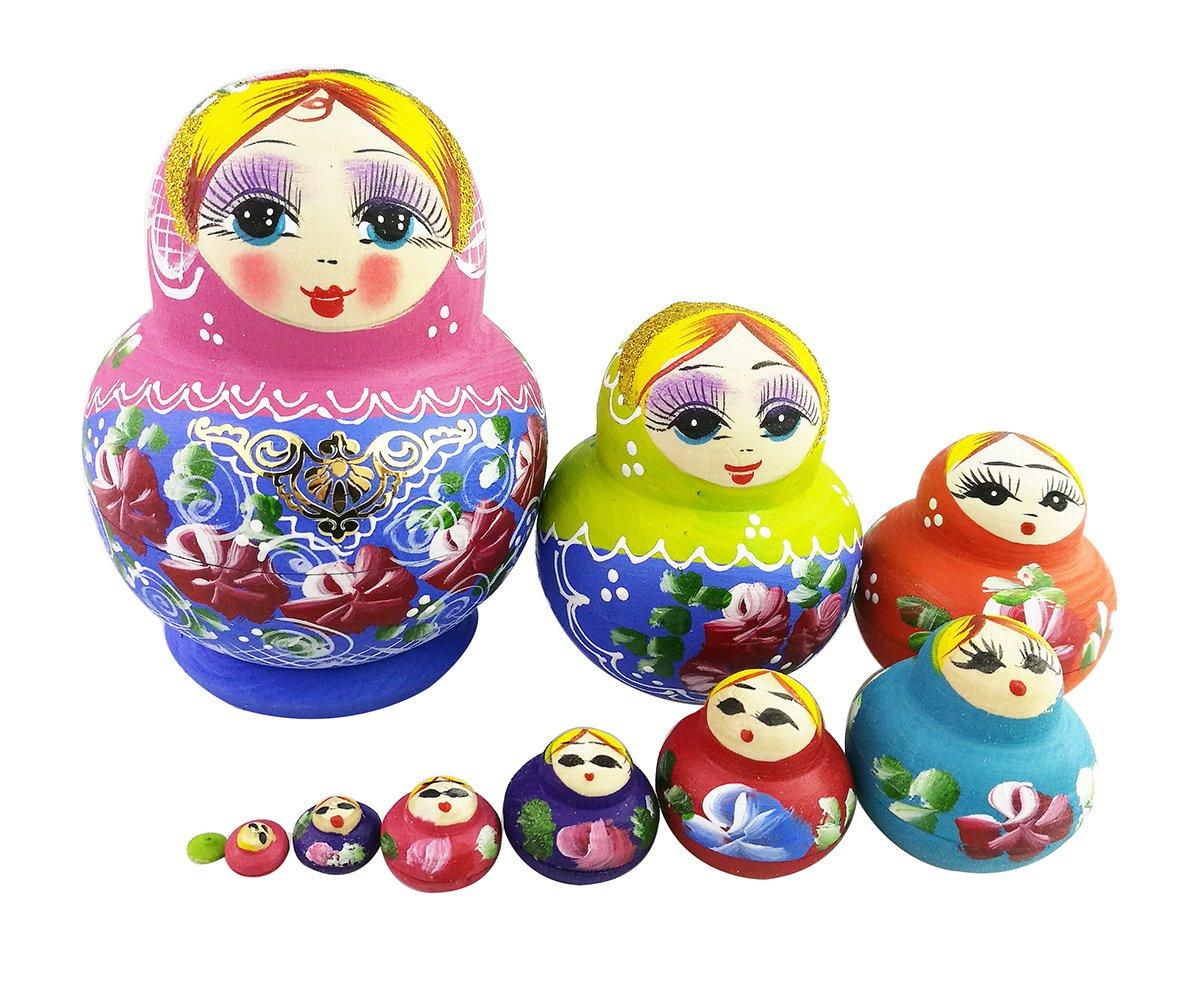 Winterworm Set of 10 Cutie Lovely Pink Blue Gold Nesting Dolls Matryoshka Madness Russian Doll Popular Handmade Kids Girl Gifts Toy