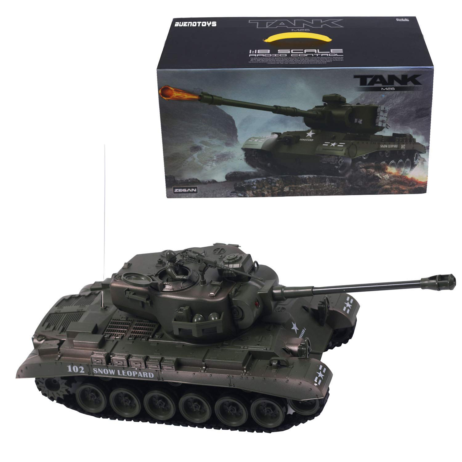 Buenotoys 1:18 RC Tank Remote Control Power Military Battle Tank with  Engine Sound, 3 Speed ,The Turret is up and Down, Left and Right Adjustable  and