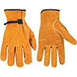 Custom Leathercraft 2057L Split Cowhide Drivers Gloves with Tape and Ball Close, Large