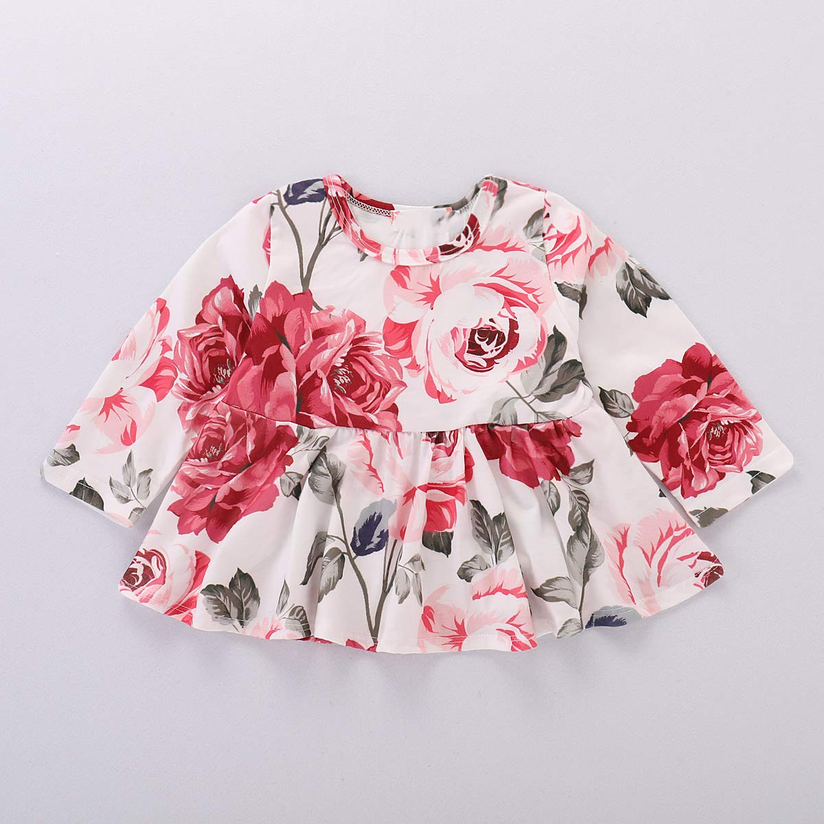 2Pcs Toddler Girls Long Sleeve Floral Shirt Tops Ripped Jeans Clothes Set