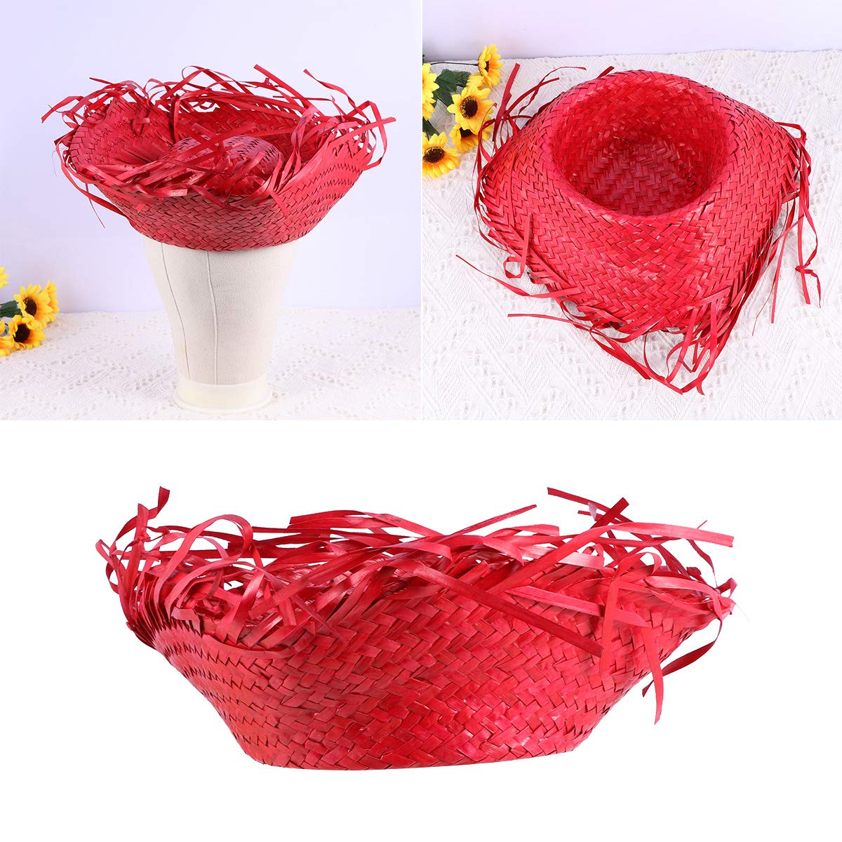 Amosfun Mexican Sombrero Hat Straw Hat Mexican Hat Hawaii Straw Hat Woven Hawaii Straw Hat for People Red