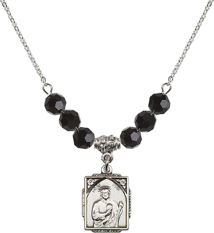 Bonyak Jewelry 18 Inch Rhodium Plated Necklace w// 6mm Jet Birth Month Stone Beads and Saint Jude Charm