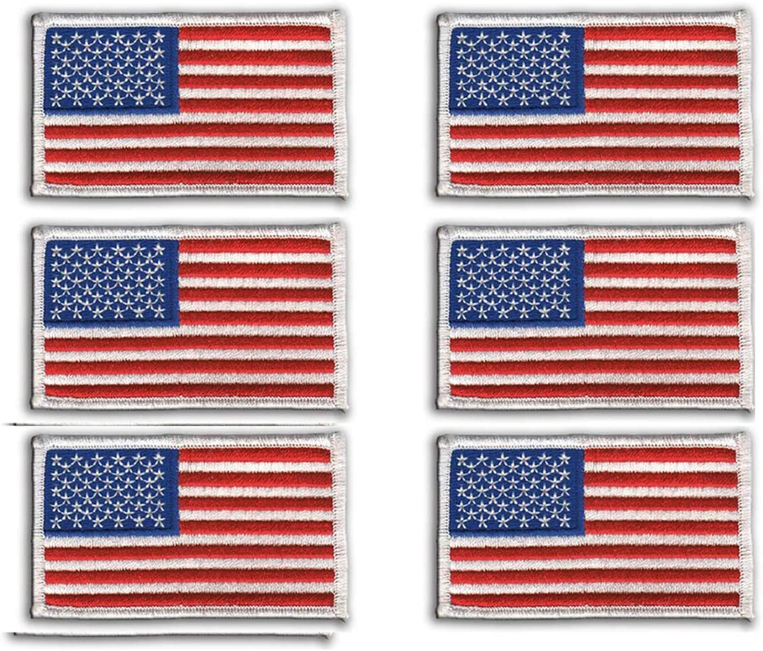 6 Pack - American Flag Embroidered Patch, White Border USA United States of America, US Flag Patch, sew on