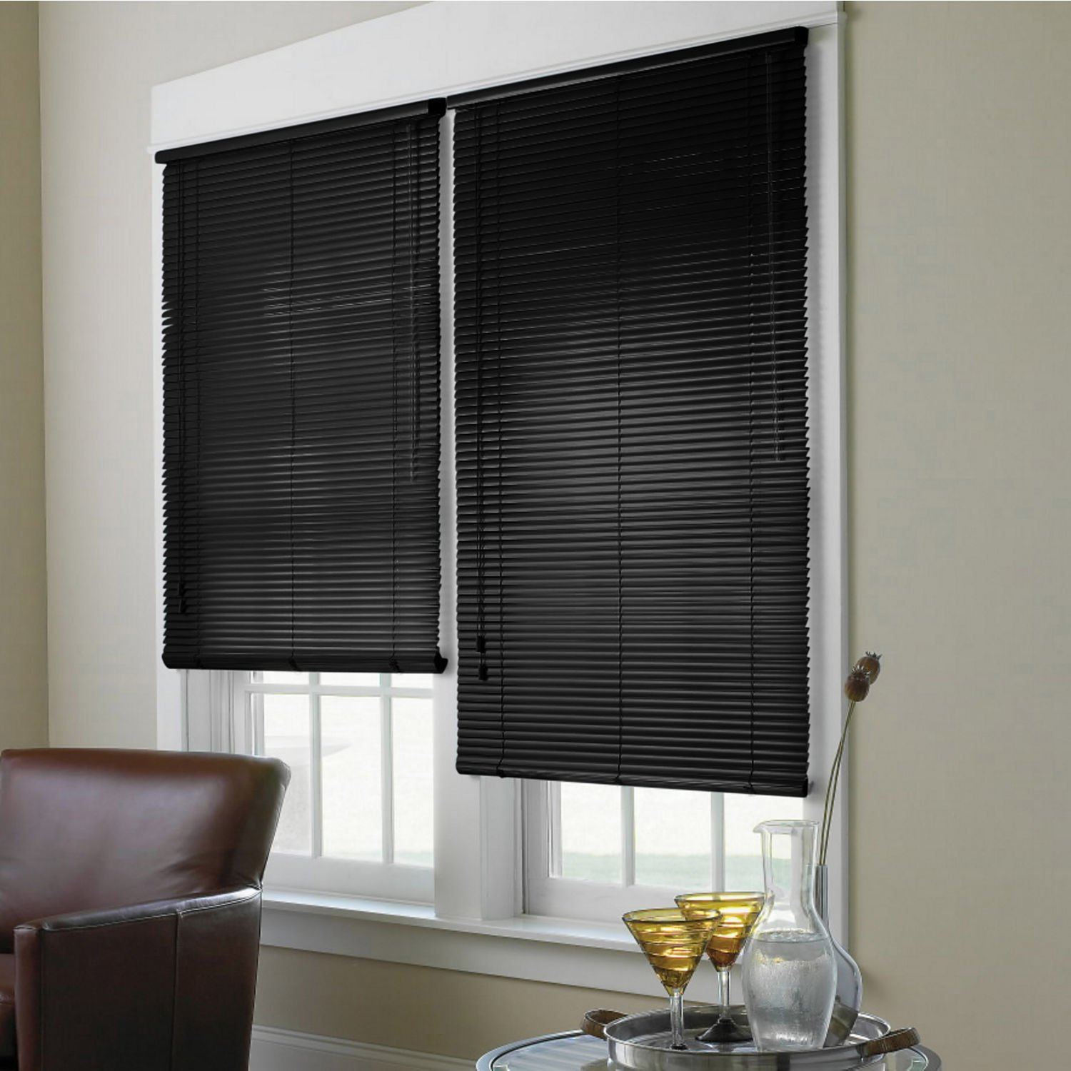 1 Spectra High Gloss Vinyl Mini Blinds Black 46x64 By Window Blind Store Amazon In Home Kitchen