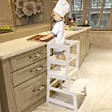 WOOD CITY Kitchen Stool Helper for Kids with Non-Slip Mat, Toddler Stool Tower for Learning, Wooden Toddler Stepping Stool fo