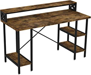 "IRONCK Industrial Computer Desk 55"", Office Desk with Printer Monitor Shelf Storage Shelf CPU Stand, Studying Writing Table for Home Office"