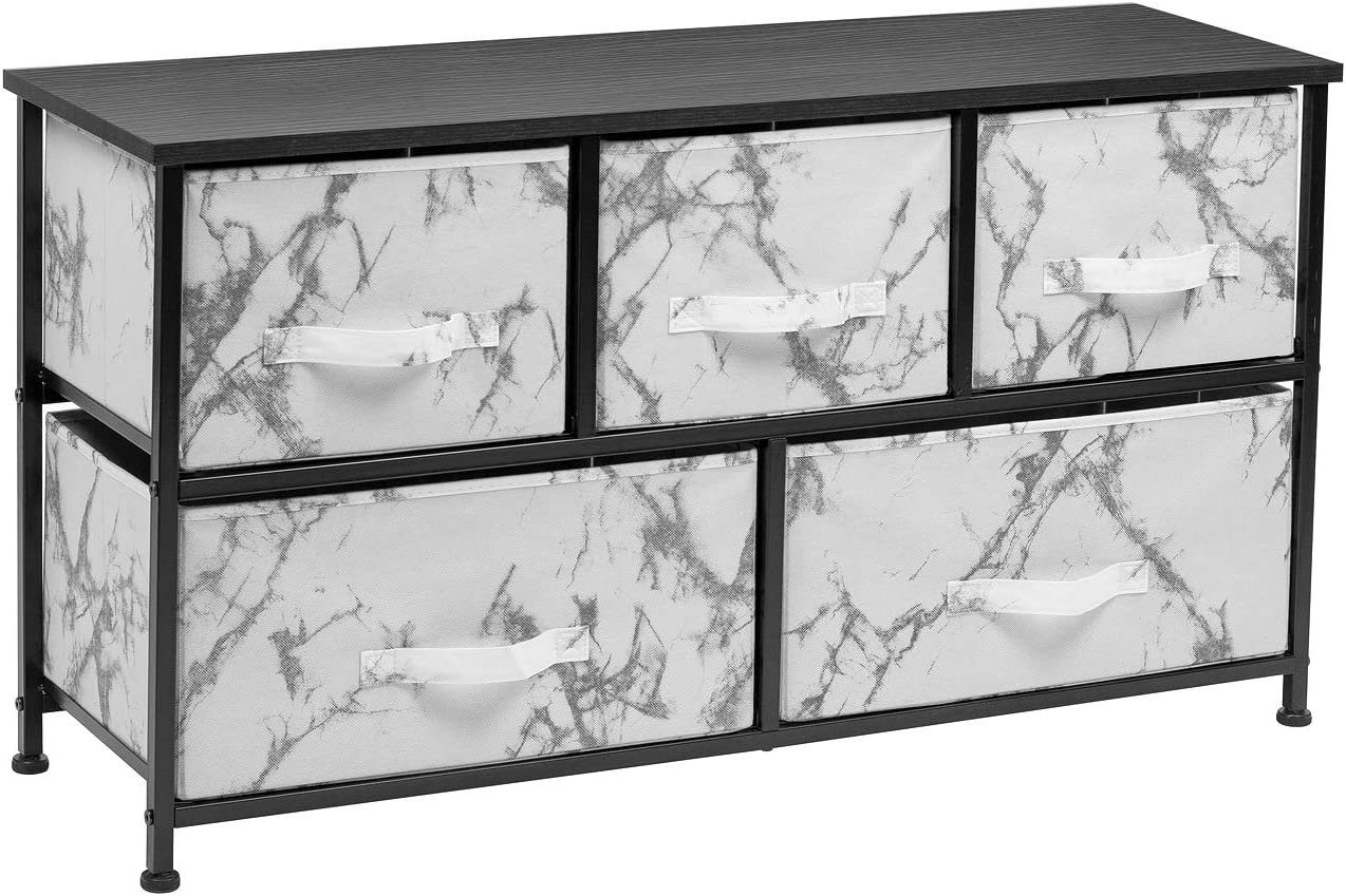 Sorbus Dresser with Drawers - Furniture Storage Chest Tower Unit for Bedroom, Hallway, Closet, Office Organization - Steel Frame, Wood Top, Marble Pattern Fabric Bins (Marble White – Black Frame)