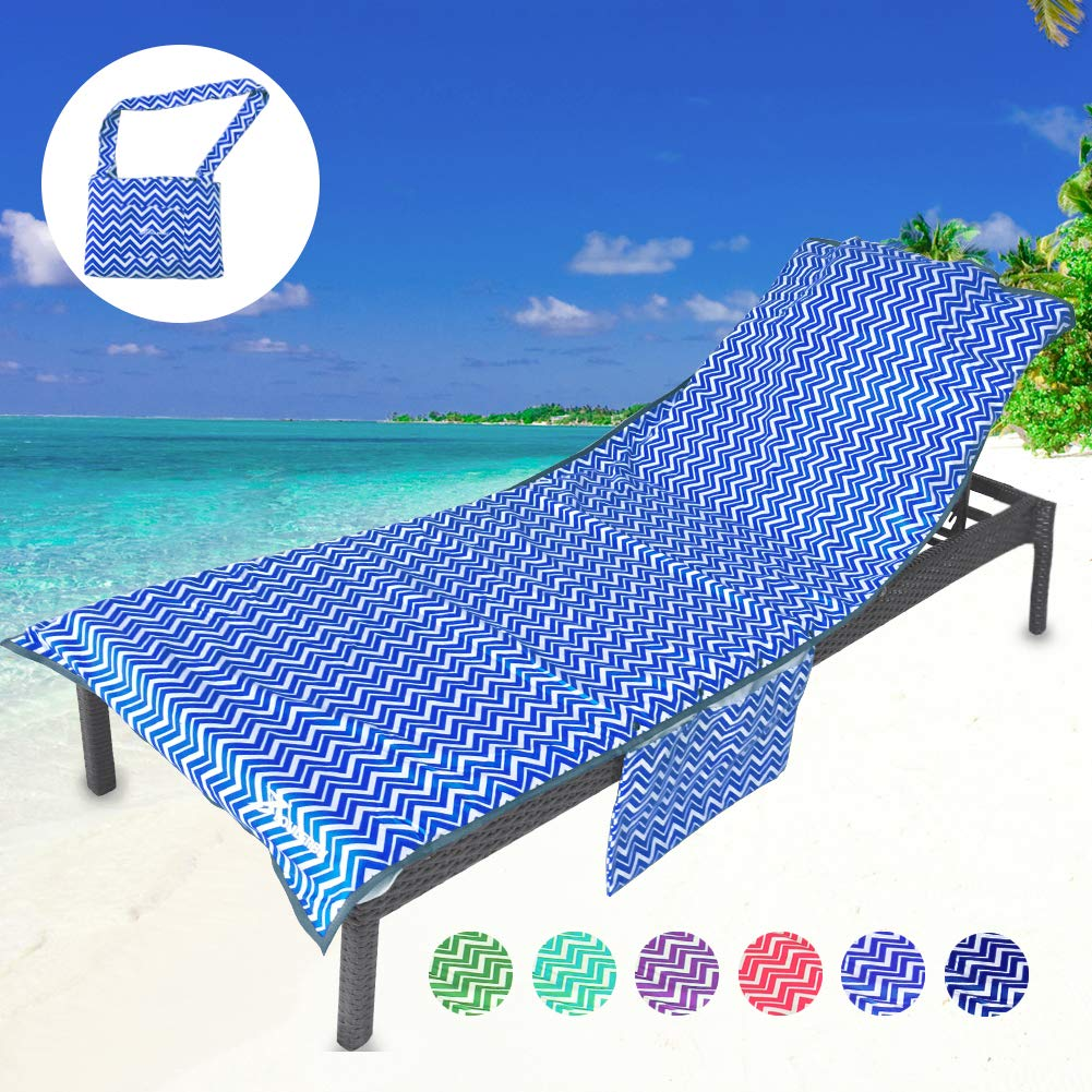 YOULERBU Thickened Beach Chair Cover Towel, Swimming Pool Lounge Chair  Cover with Side Pockets Holidays Sunbathing Quick Drying Terry Towels
