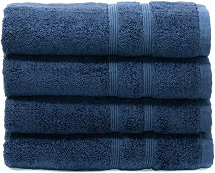 MOSOBAM 700 GSM Luxury Soft, Hand Towels 16X30, Set of 4, Navy Blue, Bamboo-Turkish Cotton, Dark Small Guest Bathroom Towel, Quick Dry Hotel Bath Sets, Gym Workout, Spa Facial, Face Prime Clearance