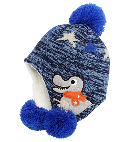 07648ee6faf Image Unavailable. Image not available for. Color  Funjoy Baby Boy Girl  Dinosaur Winter Hat Toddler Warm Soft Cotton Wool Lined Hats with Ear