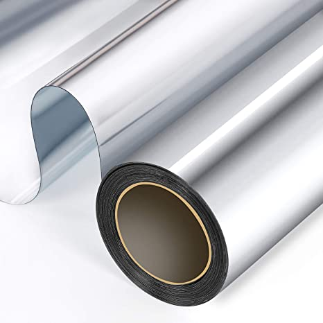 One Way Privacy Window Film Silver Insulation Mirror Tint Static Cling DIY Decor