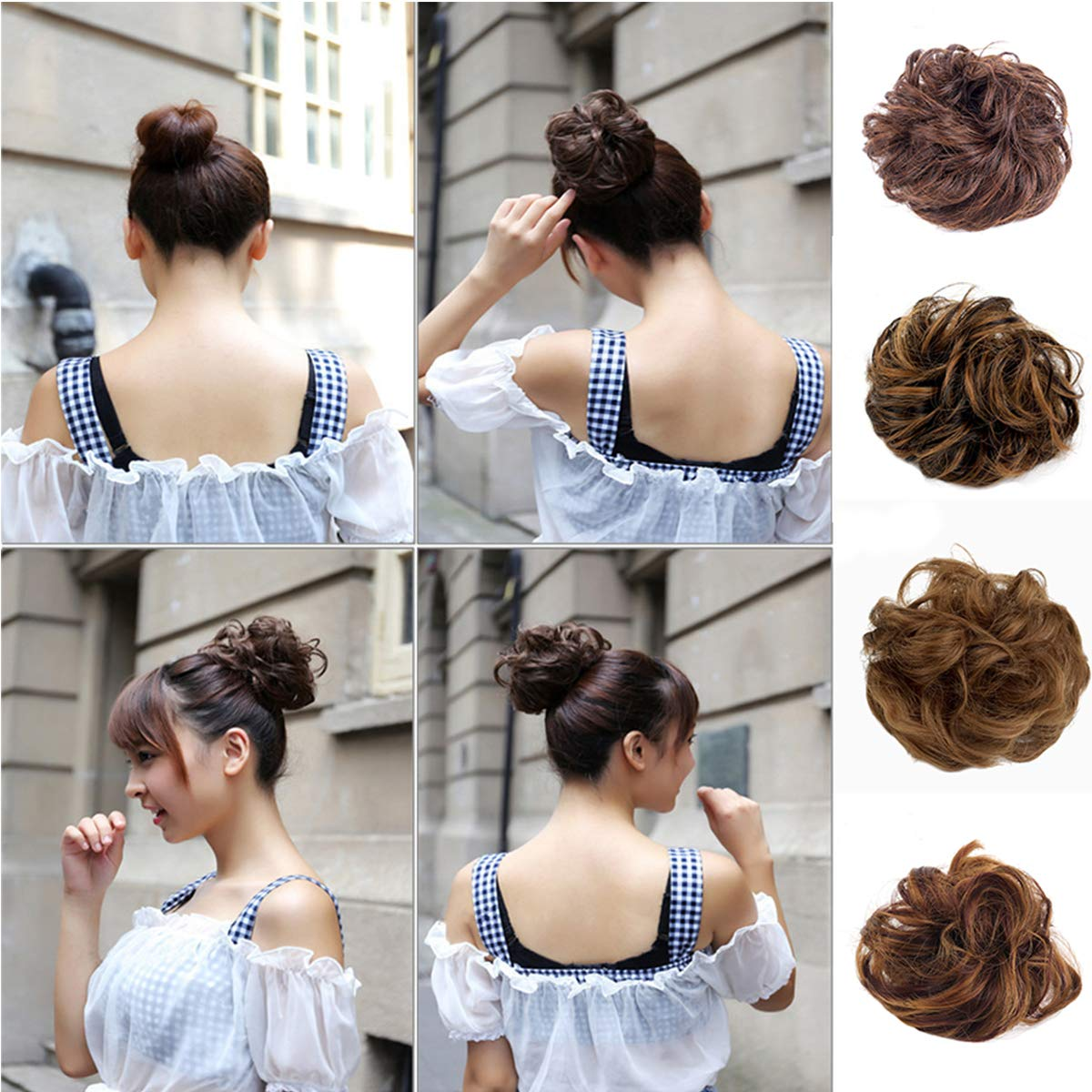 Leeons Wavy Donut Updo Ribbon Ponytail Hair Extensions Curly Messy Bun Dish Scrunchy Scrunchie Hairpiece Wave Bun Scrunchie Synthetic Hair Bun (#2) by LEEONS (Image #1)