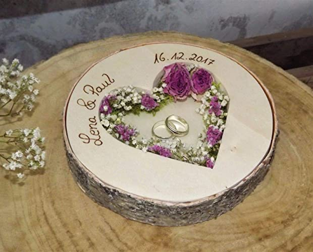 Almohada redonda para anillos de boda Mille Fleurs para anillos de boda con nombre