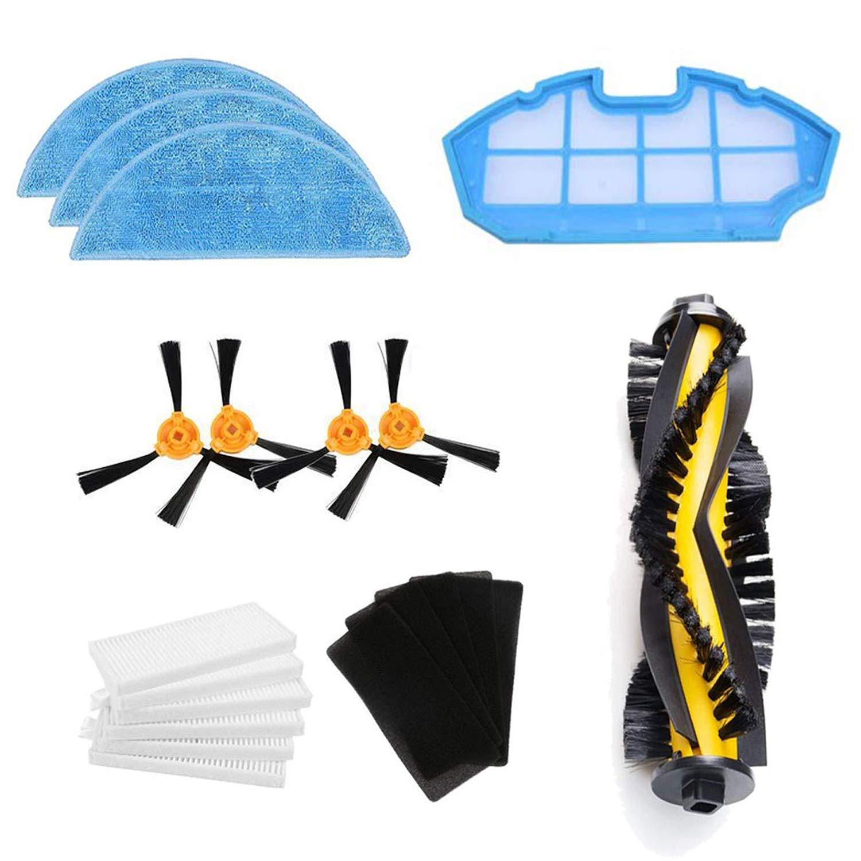 Zealing Kit de Accesorios de Limpieza para Robots aspiradores Conga Excellence 990:cepillos Laterales,Cepillo Central,Filtro EPA,Filtro Malla,Cepillo ...