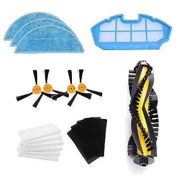 Zealing Kit de Accesorios de Limpieza para Robots aspiradores Conga Excellence:cepillos Laterales,Cepillo Central,Filtro EPA,Filtro Malla,Cepillo de ...
