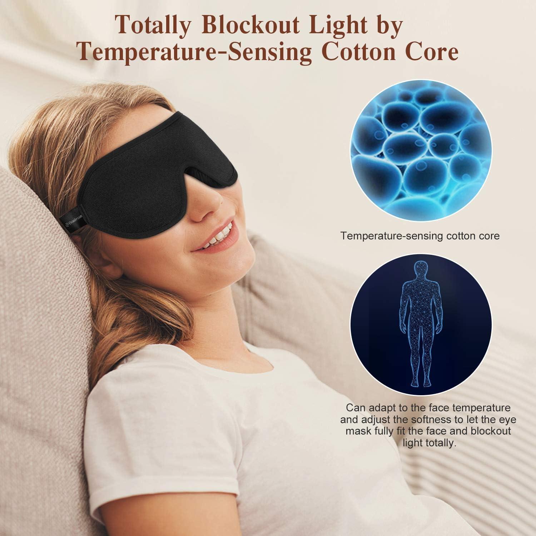 masque pour les yeux pour dormir Boniesun Masque de sommeil 100 /% occultant pour les femmes et les hommes masque de sommeil bloquant tissu lycra doux et confortable