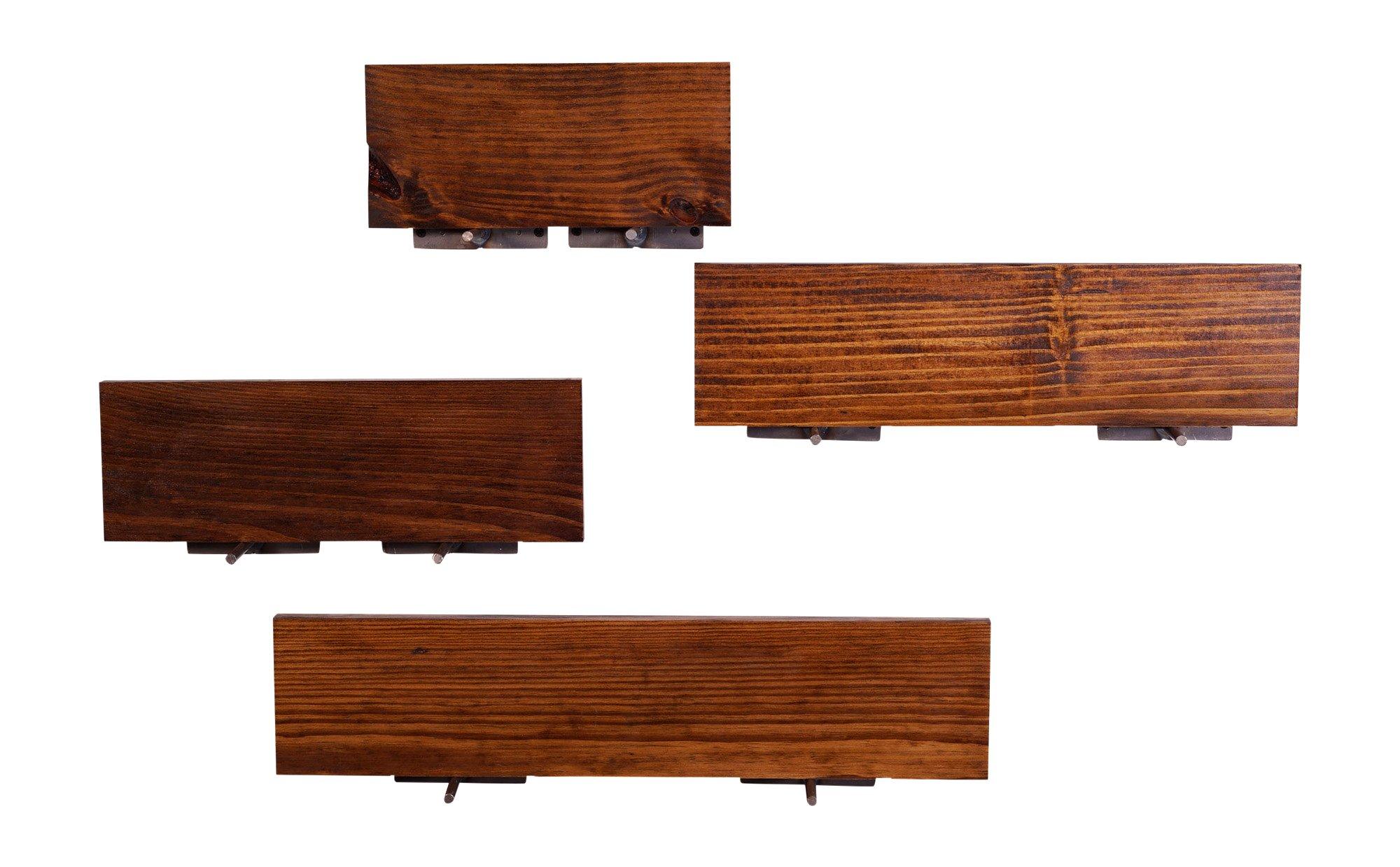 DAKODA LOVE Routed Edge Floating Shelves, USA Handmade, Clear Coat Finish, 100% Countersunk Hidden Floating Shelf Brackets, Beautiful Grain Pine Wood Wall Decor (Set of 4) (Bourbon) by DAKODA LOVE (Image #4)