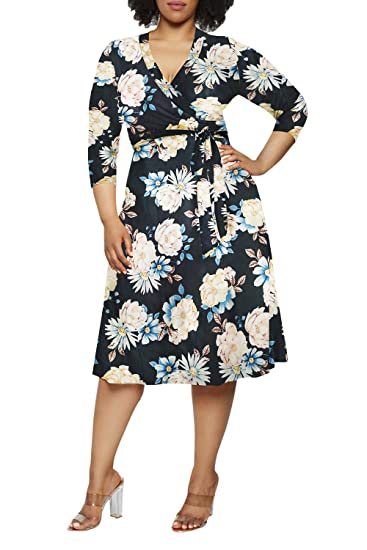 Pink Queen Women\'s Plus Size 3/4 Sleeve Faux Wrap Floral Dress with Belt