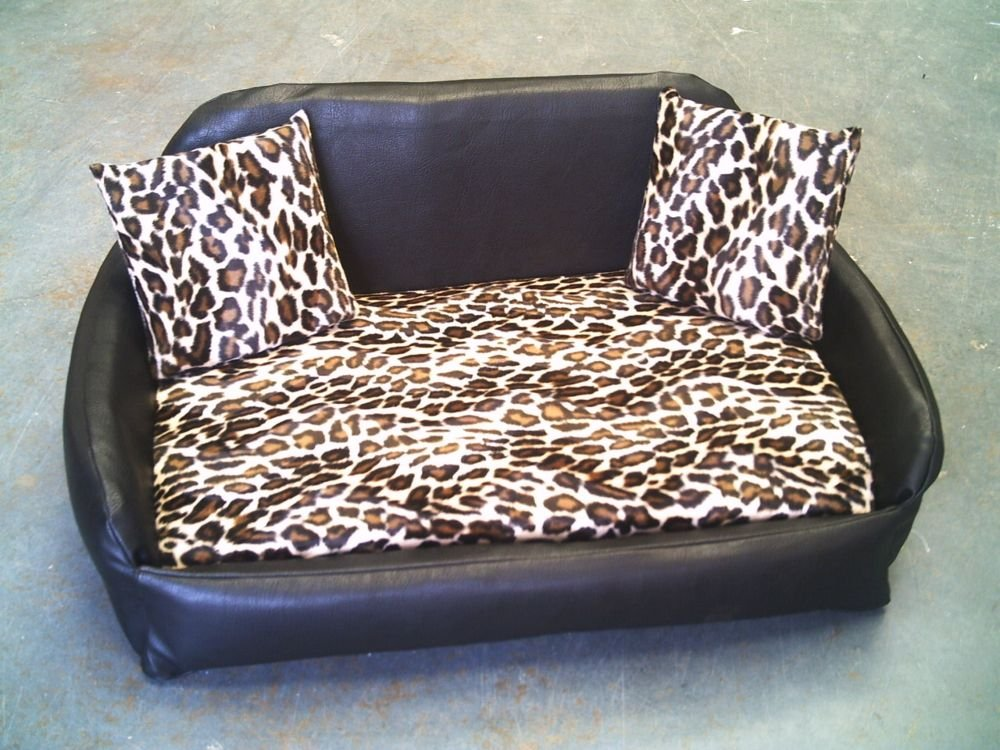 Zippy Faux Leather Sofa Pet Dog Bed - Large - Brown/Leopard 5 inch thick removable reflex mattress