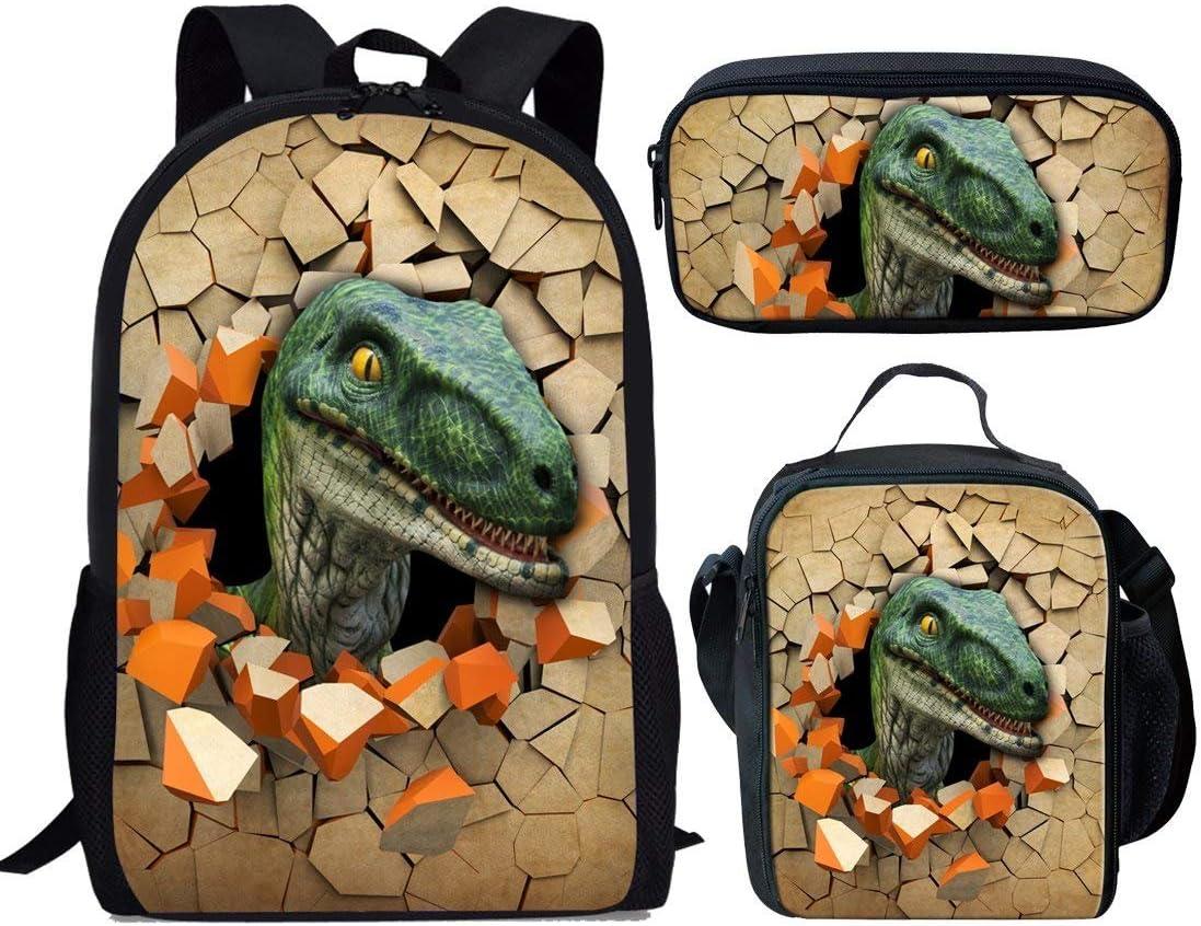 Coloranimal Adjustable Strap School Backpack 3 Piece Set Bookbags with Lunch Pouch Pencil Case T-Rex Dinosaur Knapsack