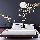 """Walplus 270 x 220 cm, motivo: ciliegio in fiore al chiaro di luna """", Adesivi da parete rimovibili, colore: multicolore"""