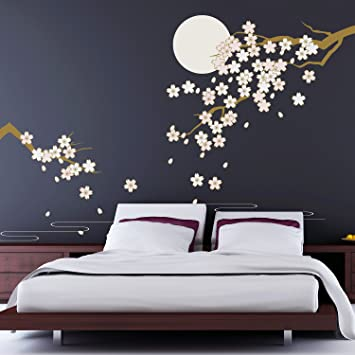 Removable Self Adhesive Wall Stickers Cherry Blossom Under Moonlight Mural  Art Decals Vinyl Home Decoration