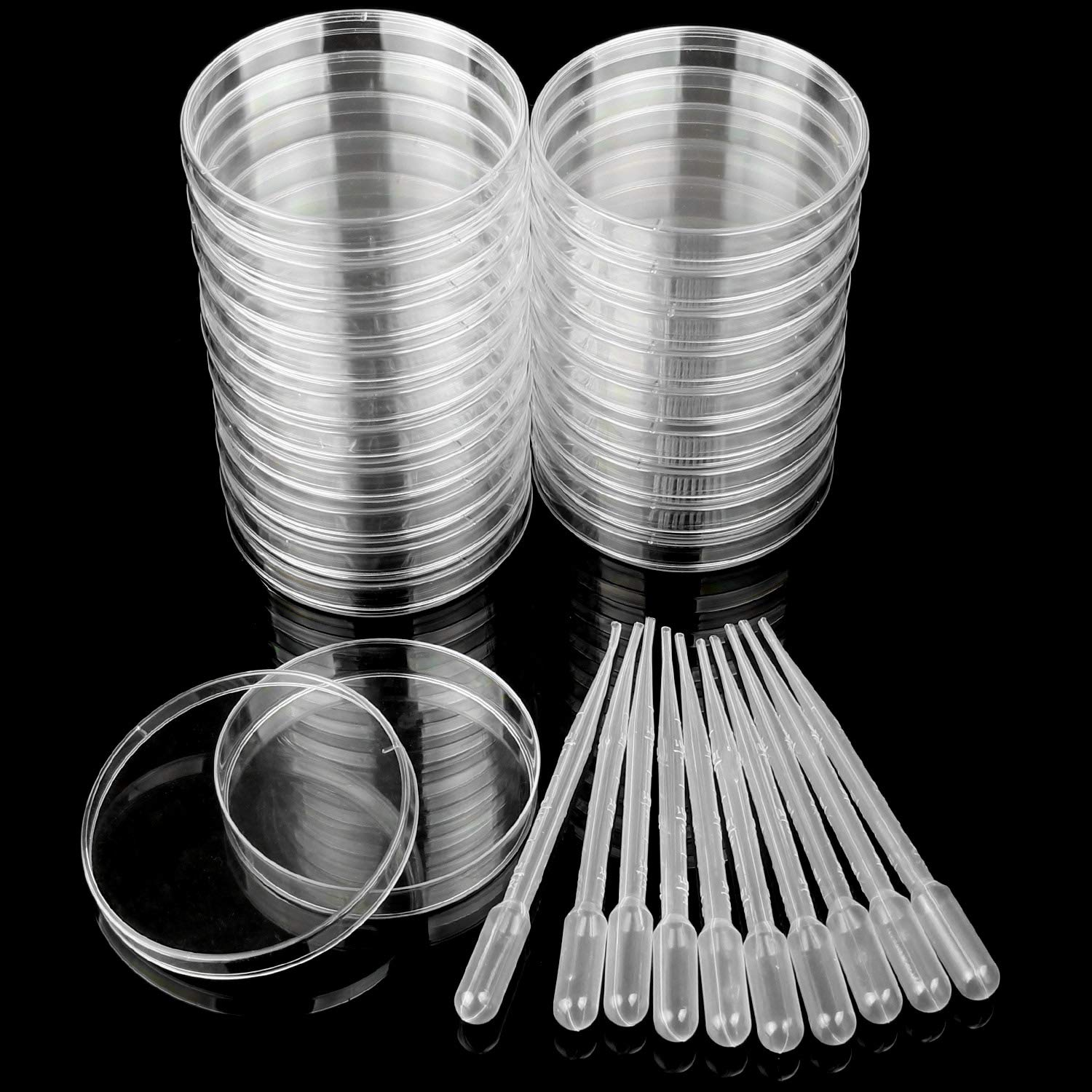Plastic Petri Dishes 100 x 15mm 20 Pack Sterile Petri Dish Plates Set Comes with 10 Plastic Transfer Pipettes (3mm) Perfect Kit for School Science Fair Projects and Birthday Parties by STARVAST by STARVAST