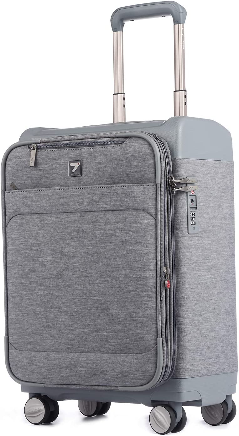 Unitravel Expandable Business Suitcase Softside Carry on Spinner Luggage with TSA Lock 20 inch Gray