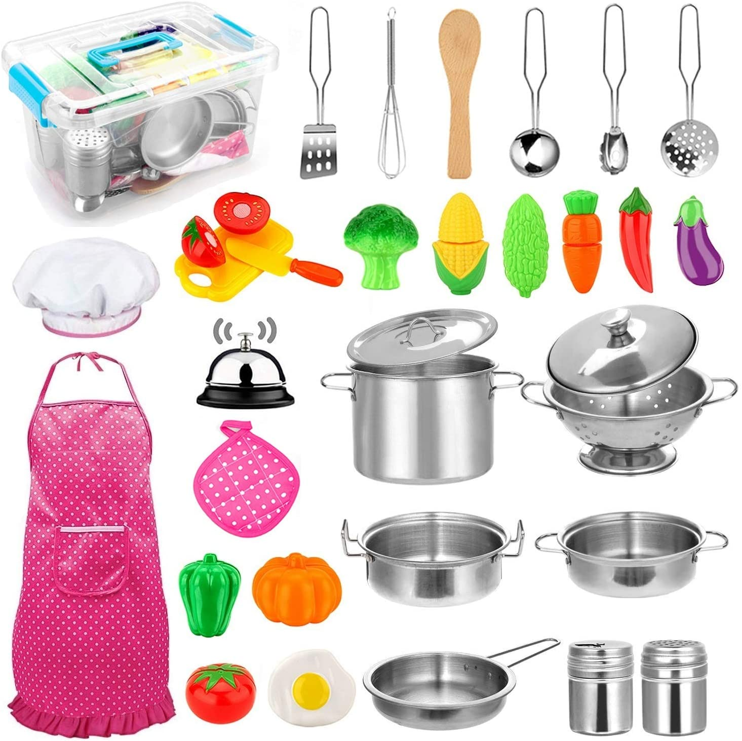 Amazon Com 30pcs Kids Kitchen Pretend Play Toys Toy Kitchen Set With Stainless Steel Cooking Utensils Cookware Pots And Pans Set Healthy Vegetables Knife Little Chef For Toddlers Children Boys Girls Toys