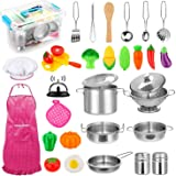 32pcs Kids Kitchen Pretend Play Toys Toy Kitchen Set with Stainless Steel Cooking Utensils Cookware Pots and Pans Set…