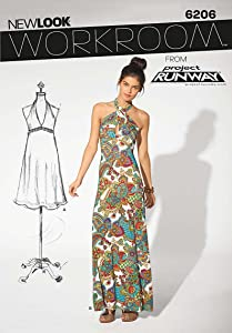 Simplicity New Look Project Runway Pattern 6206 Misses Knit Dress with Neck Variations Sizes 4-6-8-10-12-14-16