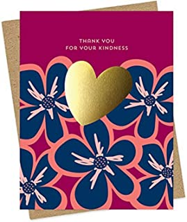 product image for Gold Heart Kindness Foil-Stamped Thank You Card by Night Owl Paper Goods
