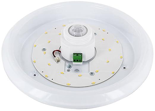 hava - Lámpara de techo con sensor de movimiento PIR, 12 W, 360 °, 800 lm, 290 X 60 Mm, Blanco Cálido (3000 K): Amazon.es: Iluminación