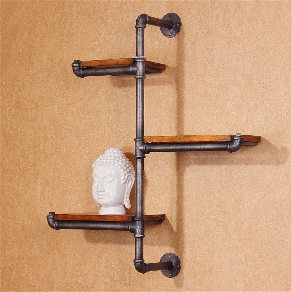 GUJJ Sepia industrielle Massivholz Rohr Wandhalterung antiken Mauer personalisierte mehrstöckige Anwesen Stirnwand