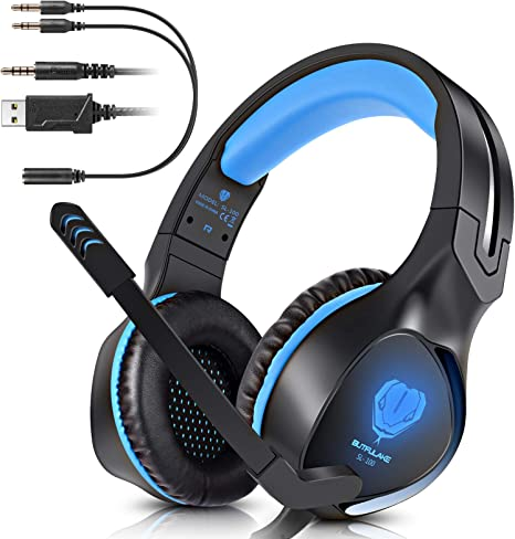 BUTFULAKE Gaming Headset para Xbox One PS4 PlayStation 4 Nintendo Switch PC Smartphone, 3.5mm Stereo Gaming Sound Over-Ear Headset Cancelación de ruido Auriculares con cable con micrófono y luz LED: Amazon.es: Informática