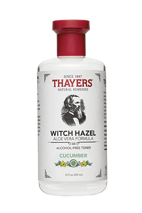 Thayers Witch Hazel Cucumber Face Toner. 12 Fluid Ounce Alcohol-Free Facial Mist with Aloe Vera Formula. Skin Care Essentials