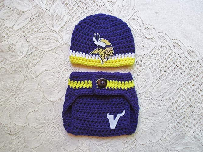 56eb03e05 Amazon.com  Minnesota Vikings Crochet Football Hat and Diaper Cover Set -  Baby Photo Prop - Baby Shower Gift - Available in 0 to 24 Months  Handmade