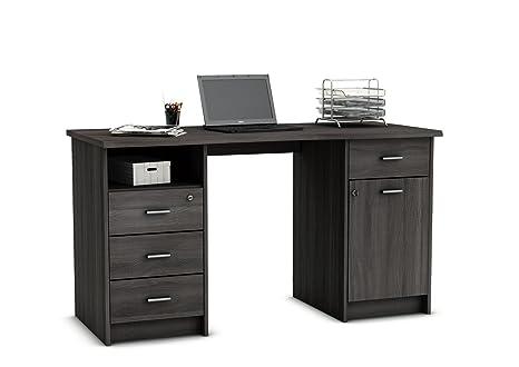 Escritorio Mesa de Estudio 135cm. Roble Vulcano, para Ordenador, despacho, habitación Juvenil